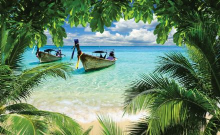 Giant non-woven wallpaper murals  Beach Tropical Paradise Boat 225wm